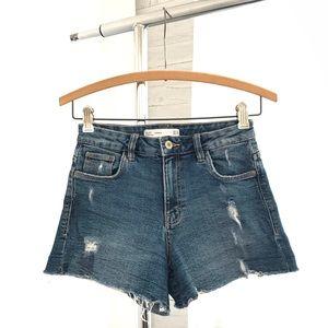 Zara Trafaluc Denim Distressed High Waist Shorts